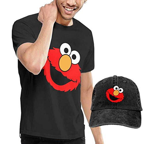 Camicie e T-Shirt Sportive, Top e Bluse,Mens Fashion Elmo's World T-Shirts And Washed Denim Hat Casquette Black