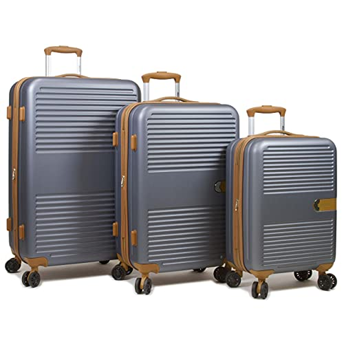 Dejuno Garland Hardside 3-Piece Spinner Luggage Set with USB Port, Grey