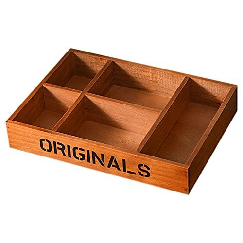 ROSEBEAR Caja de almacenamiento de escritorio de madera vintage con varios compartimentos para el hogar y la oficina