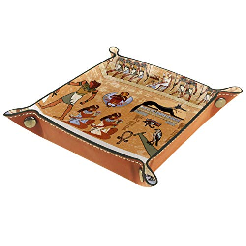 Bandeja de Valet, colección de Cuero de PU, Organizador de bandejas, Caja de Almacenamiento para Relojes, Monedas, Monedas, Billetera, Marco histórico Egipcio, Retro