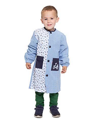 Ardeco's - Bata escolar Botones Azul Motos niño (4)