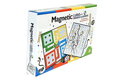 NGEL Magnetic Snakes and Ladders with Ludo Game for Kids, Travel Board Game, 2 in 1 Classic Board Game