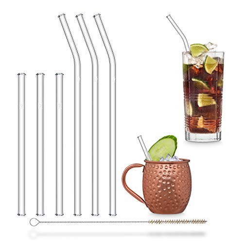 HALM Glass Straws - Variety Pack 6 Reusable Drinking Straws in 2 Sizes  Plastic-Free Cleaning Brush - Made in Germany - Dishwasher Safe - Eco-Friendly - Perfect for Smoothies Cocktails