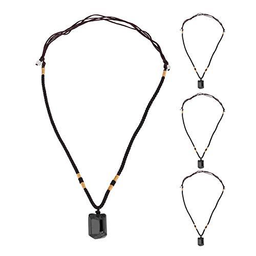 4 piezas colgantes de turmalina cristal colgante curativo collar collar suéter cadena ajustable cordón accesorio de tela