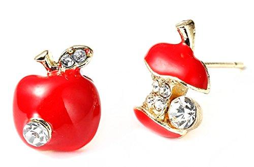 trending jewels Adorable Apple Earrings Set Paint with Enamel Color
