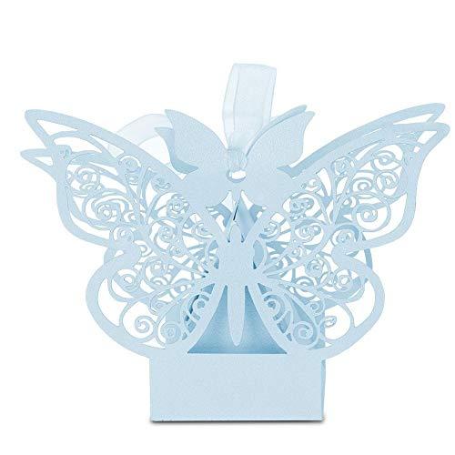 Rockyin 100PCS Hochzeit Gunsten Zucker Schokolade Dosen Hochzeit Dekoration for Hochzeit Geburtstag Light Blue