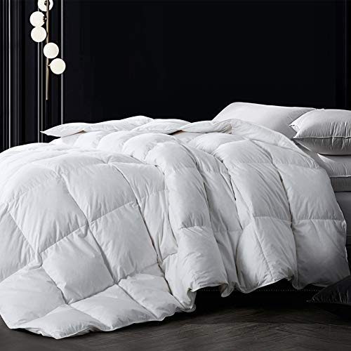 Down Comforter King, White All Season Comforter, Goose Duck Down and Feather Filling, 100% Cotton Shell Duvet Insert, 106×90 Inch