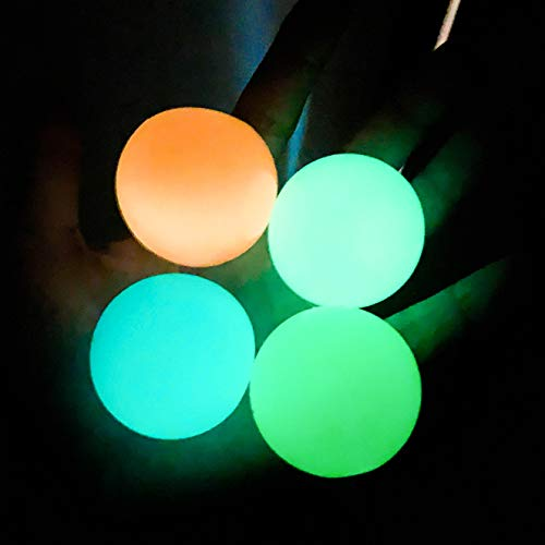 New Glow In The Dark Toys sticky Ball, Stick to The Wall and Slowly Fall Off, Squishy Glow Stress Relief Toys for Kids and Adults Tear-Resistant, Non-Toxic, Fun Toy for ADHD, OCD, Anxiety - 4Pcs