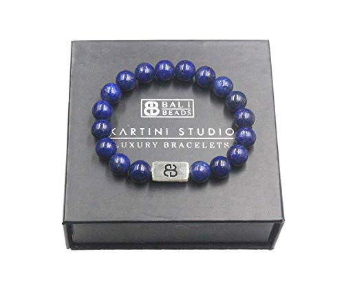 Lapis Lazuli and Sterling Silver Bracelet, Men's Lapis Beads Bracelet