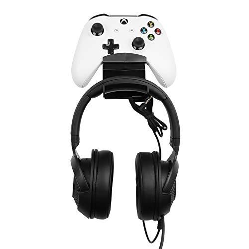 Schraubenloser Standhalter für Gaming Controller Gamepad &Kopfhörer, Wandhalterung Entwickelt für Gaming Bluetooth Kopfhörer, Xbox ONE, PS4, PS3, Dualshock, Schalter, PC, Stahlserie, Steam von TIUIHU
