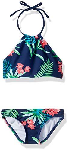 Kanu Surf Girls' Big Mahina Beach Sport Halter Bikini 2-Piece Swimsuit, Leonie Floral Navy, 10