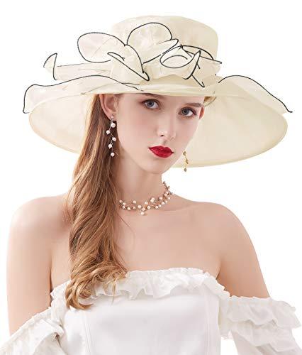 Z&X Sombreros de organza para mujer con diseño de Iglesia de Kentucky Derby de flores para boda, fiesta de té, sombrero de ala ancha, 023 Beige, Talla única