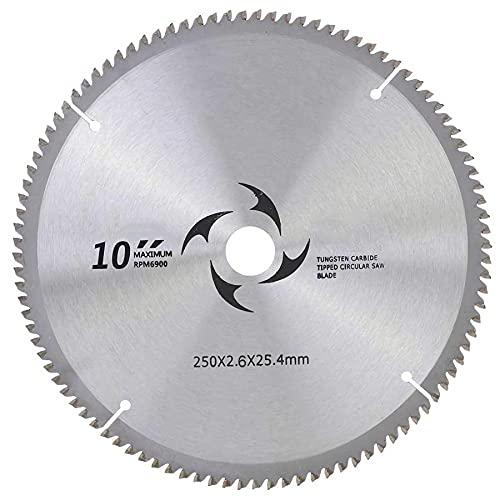 SEGIBUY Hojas De Sierra Circular 250 Mm Mini Hojas De Sierra Circular, Accesorios para Herramientas Rotativas para Corte De Madera, Plástico Y Metal,100T