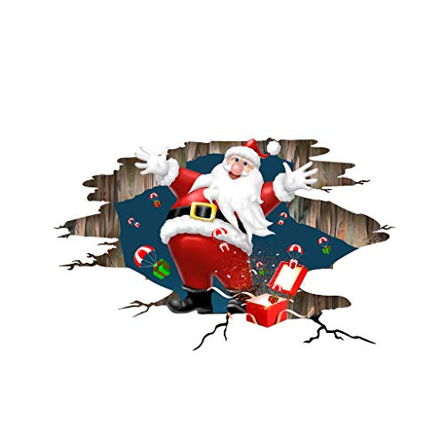 Christmas Window Stickers Large 3D Santa Claus Ornament Removable Floor Wall Sticke DIY Wall Door Mural Decal Sticker for Xmas Decoration