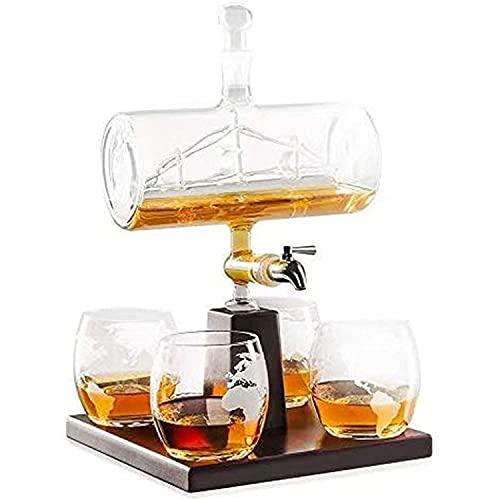 XFZDP Decantador de Whisky y Conjunto de Vidrio, Decantador de Whisky escocés, Bebidas alcohólicas de 1000 ml, dispensador de Grifo de Acero Inoxidable - 4 Gafas de mapas mundiales grabadas