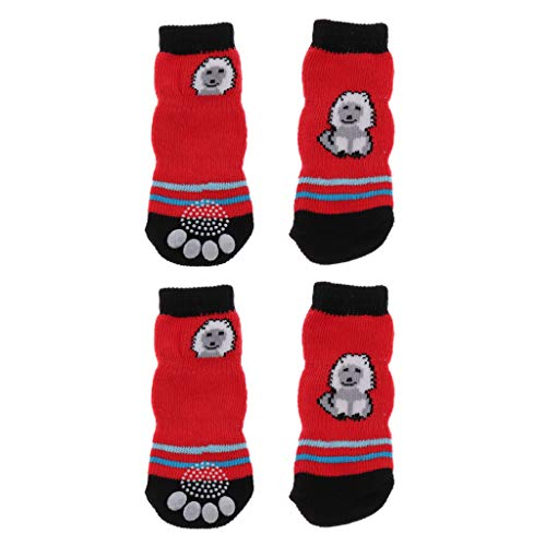 F Fityle Hund Socken Anti Rutsch Für Parkett Indoor Wear Pfotenschutz Rot - M