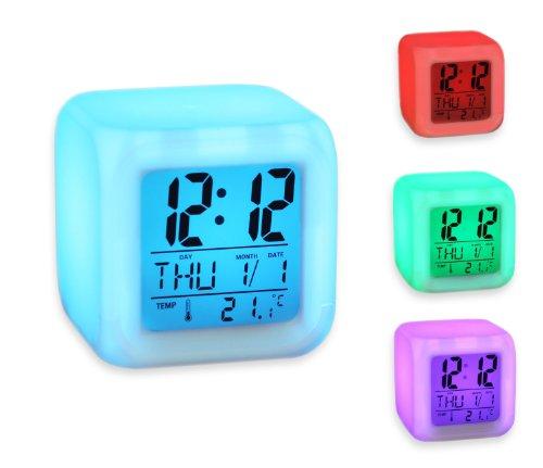7 LED-kleurklok met digitaal lcd-display, kalender, wekker, thermometer, alarmfunctie, CM3-019-CUBE