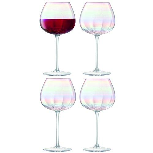 LSA International, Set di 4 Bicchieri da Vino Rosso, 460ml, Effetto Madreperla