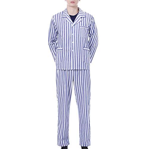 PRETYZOOM Pijama de Algodón Conjunto de Pijama de Manga Larga Ropa de Dormir Ropa de Hospital para Uso Diario del Paciente (Raya Azul Y Blanca 3XL)