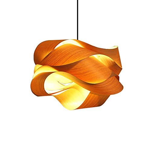 1 Lichter Modern Minimalismus Esszimmer Gebogener Holz Furnier Hängelampe E27 Geometrischer Lampenschirm Höhenverstellbar Pendelleuchte Schlafzimmer Restaurant Wohnzimmer Schmücken