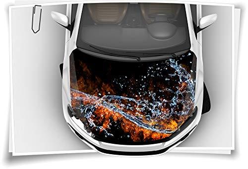 Medianlux Feuer Wasser Schwarz Motorhaube Auto-Aufkleber Steinschlag-Schutz-Folie Airbrush Tuning Car-Wrapping Luftkanalfolie Digitaldruck Folierung