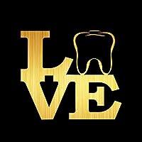 Rylybons DIY LOVE歯オリジナリティビニールステッカーカーステッカーカースタイリング反射ウィンドウビニールステッカー装飾アクセサリー13.8x15.6cm dayuhuozhan (Color Name : Brushed gold)