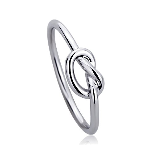 Solid 14K White Gold Wedding Ring High Polished Plain Gold Celtic Love Knot Promise Ring (Size 5 to 9), 8