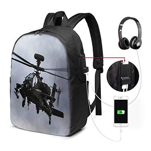 WEQDUJG Mochila Portatil 17 Pulgadas Mochila Hombre Mujer con Puerto USB, Helicóptero de Ataque AH 64D Apache Mochila para El Laptop para Ordenador del Trabajo Viaje