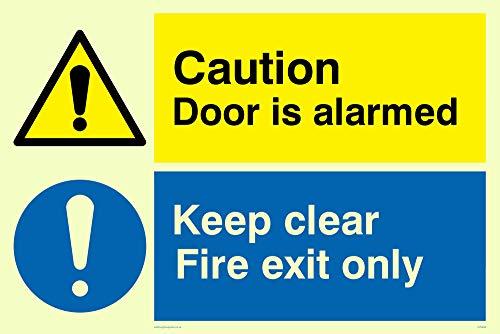 Viking Signs CV5408-A4L-PV - Señal de advertencia con texto en inglés'Caution Door Is Alarmed, Keep Clear Fire Exit Only', vinilo luminiscente, 300 mm de alto x 200 mm de ancho