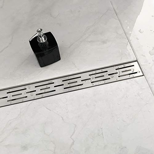 Neodrain 24 Inch Rectangular Linear Shower Drain with Brick Pattern Grate Brushed 304 Stainless Steel Bathroom Floor DrainShower Floor Drain Includes Adjustable Leveling Feet