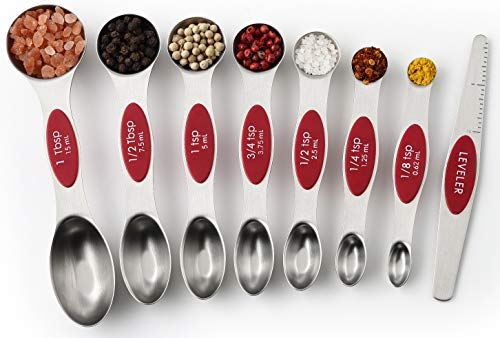 Spring Chef Magnetic Measuring Spoons Set Dual Sided Stainless Steel Fits in Spice Jars Red Set of 8