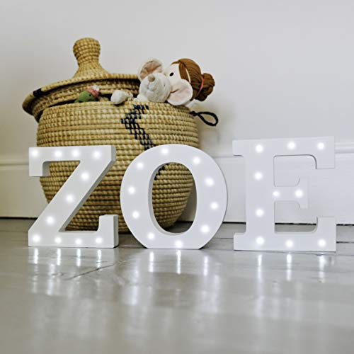 LovenCity LED Wooden Alphabet Light Up Sign Decoration,Letter Lights Sign Party Wedding Holiday Decor,Warm White,6-S