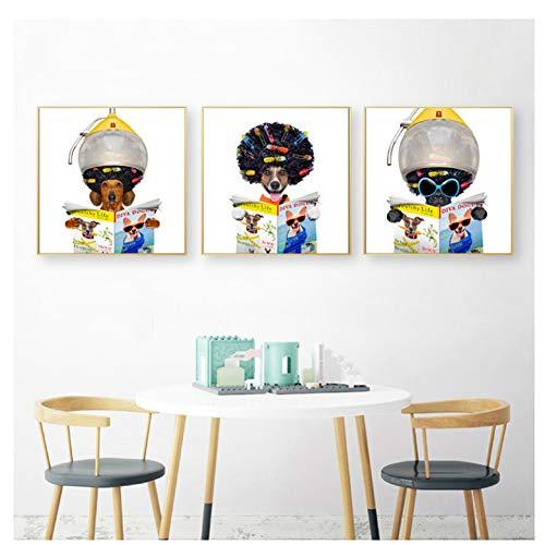 Leuke teckel hond kappers Art Canvas schilderij Wall Decor grappige Posters en Prints-40X50cmx3 zonder frame