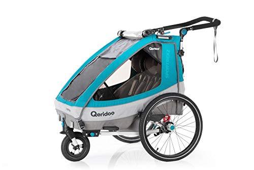 RennMaxe : qeridoo Sportrex Anhänger 2020 - Petrol - Sitzplätze: 2 - inkl Sicherheitswimpel - Kinderanhänger Fahrradanhänger