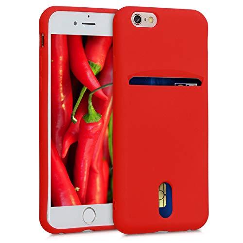 kwmobile Funda para Apple iPhone 6 / 6S - Carcasa de móvil de Silicona con Tarjetero y Acabado de Goma - Rojo