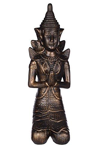 Tempelwächter SLD 1304009-1 Bronze , für Innen und Außen, Tempelwächter Buddha Figur 48 cm hoch , Tempelwächter Statue groß, Büste, Gartendekoration, Wetterfest (nicht frostsicher) aus Kunststein (Polyresin) sehr aufwendig per Hand bemalt, sehr feine Strukturen