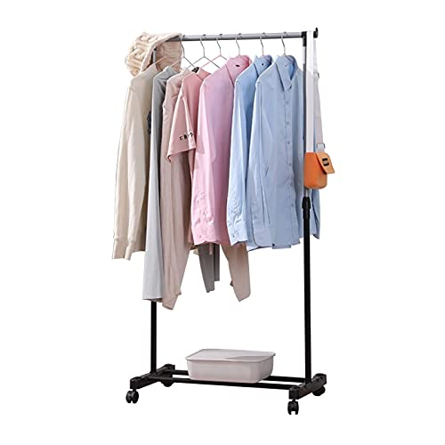 Youyijia Clothes Rack with Wheels 90-165cm Adjustable Dress Coat Garment Hanging Clothes Rail Rack Storage Stand Castors(Single)