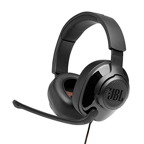 JBL Quantum 300 by Harman Hybrid Wired Over-Ear Gaming Headset with QuantumSurround & Flip-up Mic (Black)