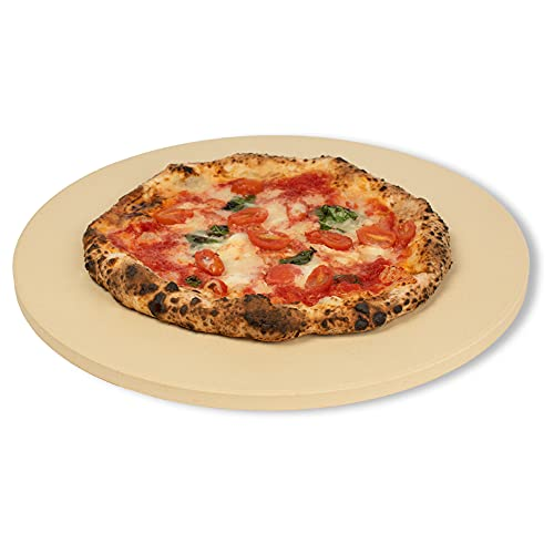 CastElegance Durable & Safe Thermarite Pizza Stone for Best Crispy Crust, Leading 5/8 inch Thickness Stone + Bonus Recipe E-Book & Scraper – 16 in. Round