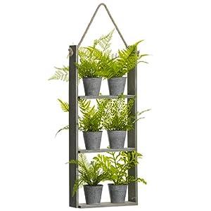 SilksAreForever 29″ Hanging Artificial Fern Plants Assortment w/Pots & Hanging Wood Shelf -Green (Pack of 2)