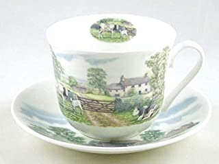Fine English Bone China Breakfast Cup and Saucer - English Country Scenes - Roy Kirkham, England