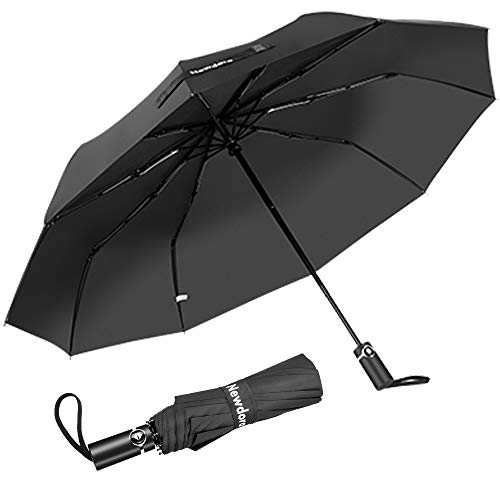 Newdora Regenschirm Taschenschirm Windproof sturmfest Auf-Zu Automatik 210T Nylon Umbrella wasserabweisend klein leicht kompakt 10 Ribs Reise Golfschirm mit Trockenbeutel(Grau)