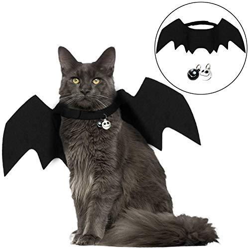 Angshop Disfraz de Gato Halloween, Mascota, Bate de alas, Disfraz de Gato con Dos Campanas de Calavera