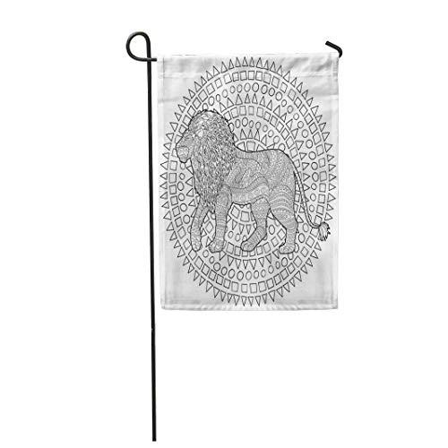 12,5 'x 18' Gartenflagge Zusammenfassung Erwachsene Malvorlagen für Antistress Lion Africa Home Outdoor Dekor Doppelseitige wasserdichte Yard Flags Banner für Party