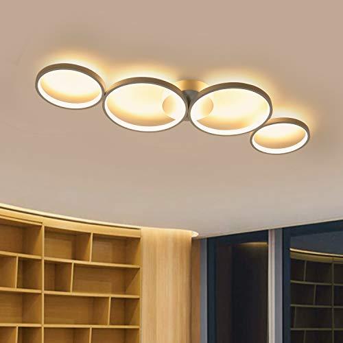 GBLY LED Deckenlampe Modern 4 Flammig in Ringoptik 3000k Warmweiß Deckenleuchte Rund 37W Innen Wohnzimmerlampe aus Aluminium für Schlafzimmer Wohnzimmer Flur Büro Arbeitszimmer, 89cm