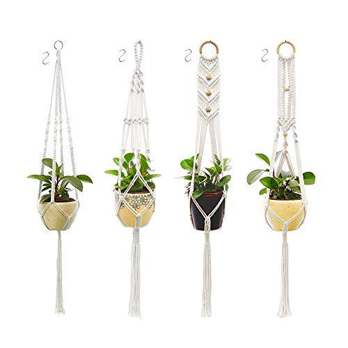 BEYAOBN 4 Stück Makramee Blumenampel,Baumwollseil Hängeampel,Blumentopf Pflanzen Halter Aufhänger für Innen Außen Decken Balkone Wanddekoration 4 S-Haken (Beige)