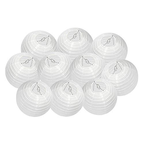 Dazone - Farol de papel (10 unidades, pantalla blanca sin LED), diseño chino para decoración de bodas, cumpleaños, fiestas, casas, Navidad (30 cm)