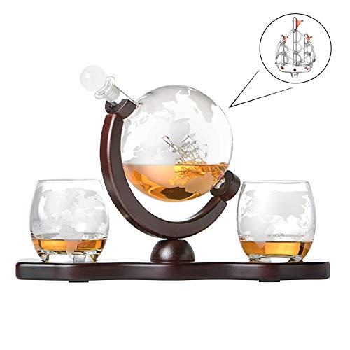 Whisky-Set, Glas-Karaffe Globus Segelschiff mit gravierter Weltkarte, 2 Whiskygläser und Holz-Tablett, Flasche mit luftdichtem Verschluss, Decanter 850ml Geschenk