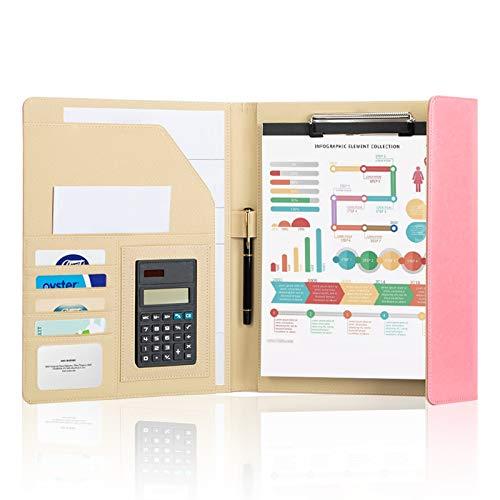 Therm La Mode バインダー クリップボード 多機能フォルダー、会議フォルダー 、三つ折り 、電卓 ビジネスクリップボード、会議メモパッド、ペン A4サイズのビジネスフォルダー(ピンク)