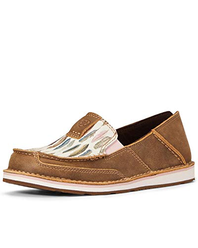 ARIAT Women's Watercolor Feather Cruiser Shoes Moc Toe Brown 8 W